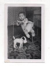 PHOTO ANCIENNE Portrait d'un enfant & peluche chien 1943 Jouet Trotteur Vintage