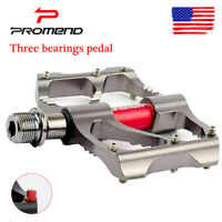 PROMEND MTB Bike 3 Bearings Chrome Pedal Ultralight Non-slip 9/16 inch Pedals US