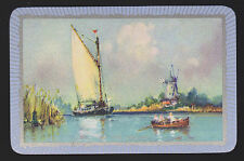 1 Single VINTAGE Swap/Playing Card EN LANDSCAPE 'ON THE BROADS ON-1-1-A'
