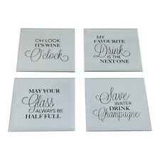 Lot de 4 miroir Sayings sous-verres-verre Drôle Nouveauté Wine O 'CLOCK Champagne