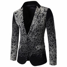 Black Print Floral Turndown Collar Men Coat