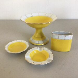 Vintage 4 pce. Meissen Yellow & White Porcelain Dressing Table Set #573