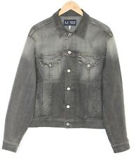 ARMANI JEANS AJ Denim Jacket Men Size UK 42 EU 52 Stretch Grey MJ2342