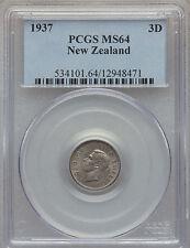1937 New Zealand Silver 3 pence- Patu Club- PCGS MS 64-rare condition