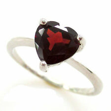 Genuine Deep Red Garnet Heart Ring Solid Sterling Silver Size 9 Gift