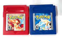 Nintendo Game Boy Pokemon Blue & Red Authentic New Battery Installed! Working!