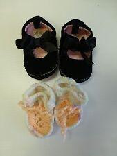 Baby Girls Size 2 Black Velour Bow Top Shoes & Newborn Handmade Booties