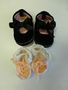 Baby Booties Girls Size 2 Black Velour Bow Top Shoes & Newborn Handmade Booties