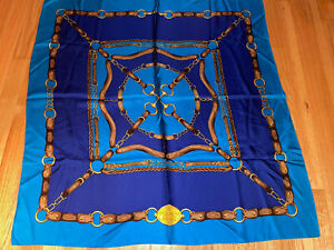VINTAGE RALPH LAUREN QUALITY GOODS EQUESTRIAN THEME BLUE SQUARE SILK SCARF