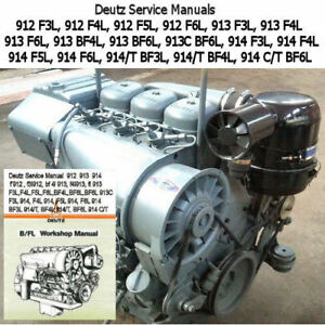 Deutz 912 913 914 Service Manual 3,4,6 Cylinder Repair Shop PDF CD  2002 & UP !!