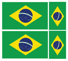 4 X Brasil Brasileño Bandera Pegatina de vinilo coche furgoneta Ipad Laptop