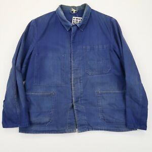 VINTAGE French EU Worker CHORE Work Shirt Jacket Worn Faded SZ S-M (G494)