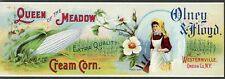 QUEEN OF THE MEADOW Vintage Cream Corn, *AN ORIGINAL 1910's TIN CAN LABEL*, 555