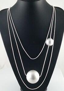 Unusual Multi Row Chain Matt Silver Chunky Ball Sphere Long Lagenlook Necklace
