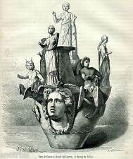 Vaso di Canosa di Puglia,2. Nel museo del Louvre, a Parigi. Stampa Antica. 1881
