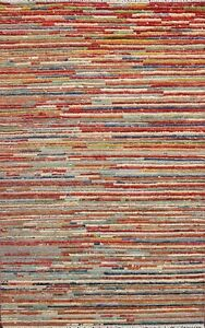 3x5 Modern Gabbeh Kashkoli Striped Oriental Area Rug Hand-knotted Foyer Carpet