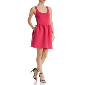 Aqua Womens Purple Fit and Flare Neoprene Ruched Mini Dress L  9223
