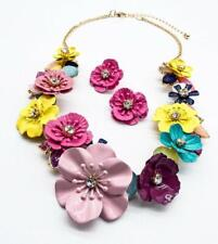 GORGEOUS Multi Enamel Metal Floral Crystal Clusters Gold Chain Necklace Earrings