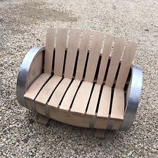 Solid Oak Refurbished Wine Cask Garden Bench | Patio Seat
