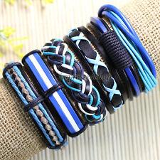 PotaMalat 6pcs Bracelets Bangles, Genuine Braided Wrap Rope Leather Bracelet-D94