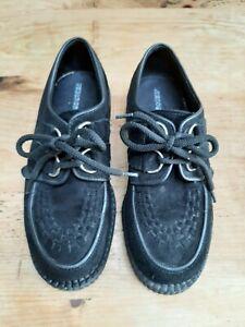UNDERGROUND ORIGINAL WULFRUN CREEPER black SUEDE shoes teddy boy UK size 4