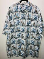 Reyn Spooner Men's XXL Hawaiian Nautical Sailboat Print Short Sleeve Shirt
