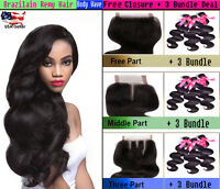 3 Bundles Natural Black BODY WAVE Virgin Brazilian Human Hair with Lace Closure