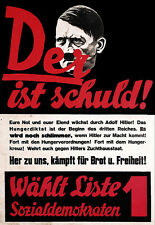 Art Ad German 1920s Anti Hitler    Propaganda  Poster Print