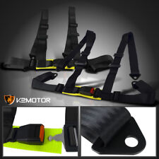 2X JDM Black Nylon Strap 4 Point Racing Drift Safety Buckle Seat Belts Harness