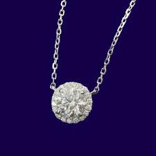 1.0Carat 6.5mm Round Brilliant Cut Diamond Pendant Necklace 14K White Gold Over