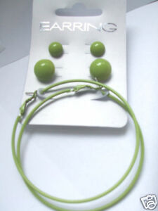 GREEN 3 PACK SMALL & MEDIUM BUTTON & HOOP EARRINGS new gift pouch REDUCED