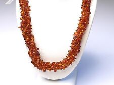 Original NATURAL BALTIC AMBER NECKLACE IN DEEP COLOR 3 STRANDS 18""