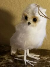 NEW POTTERY BARN WHITE FEATHER OWL SET OF 2 CHRISTMAS ORNAMENTS