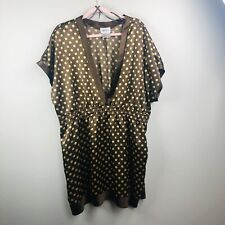 Women Cute Care-N-Sport Brown Tan Polka Dot Silky Shirt Tunic  Top Shirt Sz 3X