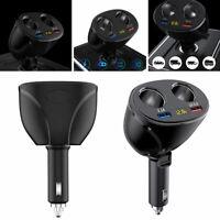 12V Car Cigarette Lighter Socket 2Way Plug Dual USB Charger Splitter Adapter New