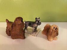 3 Hagen Renaker Dog Figurines: Schnauzer, Cocker Spaniel, Lhasa Apso Or Terrier