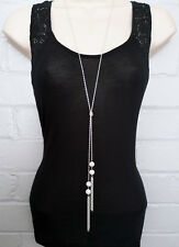 """Stunning 30"""" long silver tone knotted lariat chain diamante pendant necklace"""