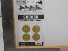 STAMPING STATION SOCCER GOLD LETTERMAN PIN EMBOSSED DIMENSIONAL STICKERS A11672