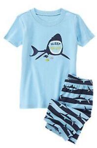 NWT Gymboree Boys Aqua Shark Pajama Shorts Set 18-24 2T 3 5 7 10