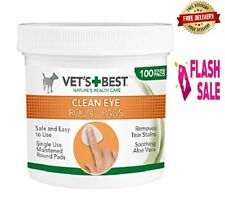 More details for eye cleaning round pad dogs tear stain remover tub safe & natural 100 pcs wipes