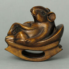 "1940's Japanese handmade Boxwood Netsuke ""Mouse on Chair"" Figurine Carving"
