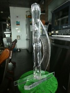 TALL 70'S CHIPPED ICE ABSTRACT LUCITE SCULPTURE