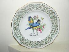 SCHUMANN ARZBERG PIERCED WALL PLATE PLAQUE ARA ARARAUNA BLUE MACAW BIRDS PARROT