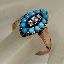 ANTIQUE VICTORIAN TURQUOISE DIAMOND MARQUIS STYLE RING SOLID 10K RG CIRCA 1890s