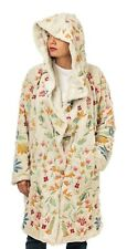 Johnny Was Sona Fur Faux Coat Cream Flower Floral Embroidery Winter Jacket NEW