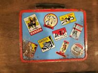 OHIO ART Vintage Tin Litho World Travel Sticker Traveler LUNCHBOX Lunch Box