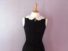 Vintage 1960s Peter Pan collar black & white sleeveless dress