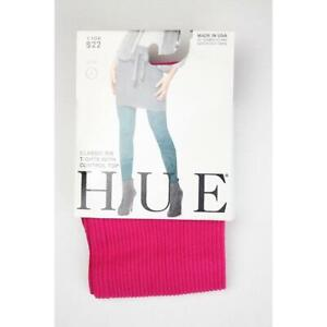 Hue Classic Womens S Tights Pink Crimson Ribbed DD0412