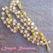 Petite Yellow, Pink & White Gemstone Rosary, Gold  #OR1477