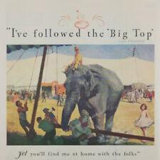 1931 Big Top Circus Elephant Clown Little Girl Art Chesterfield vintage print ad